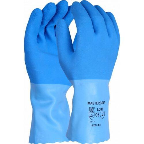 Heavy duty blue 12 inch flock lined crinkle latex gauntlet, Size 95-10