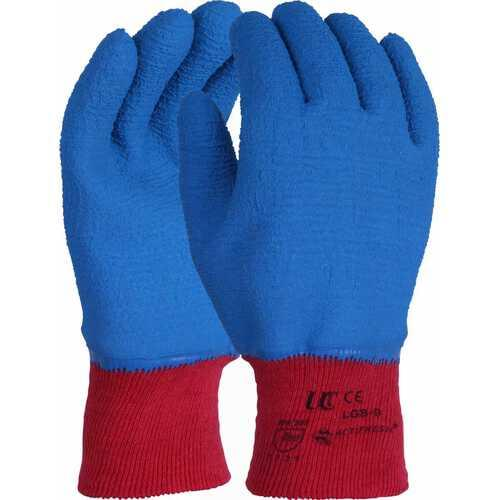 Premium quality glove with full blue crinkle latex coating, Size 9