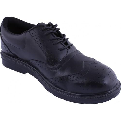 Classic black brogue work shoe with concealed toe cap, Size 8