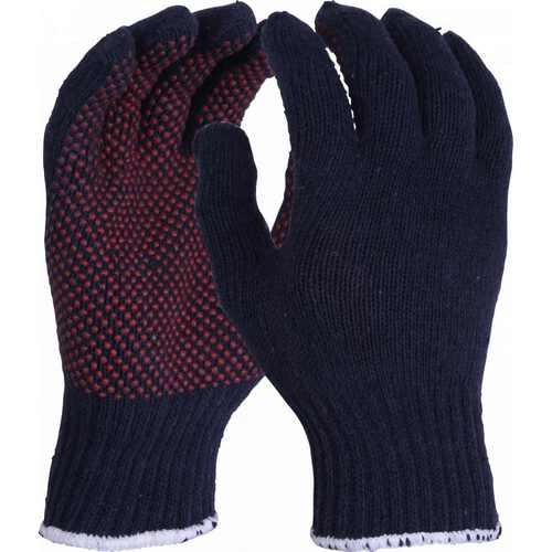 Mixed fibre blue gloves with red PVC dotting, Size S