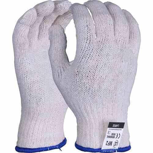 Mixed fibre off white gloves, Size M