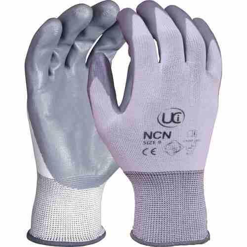 Nitrile coated polyester, Grey on White, Size 7/S