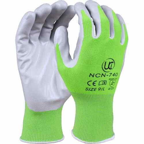 Polyester gardening glove with smooth nitrile coating, Green, Size 6/XS