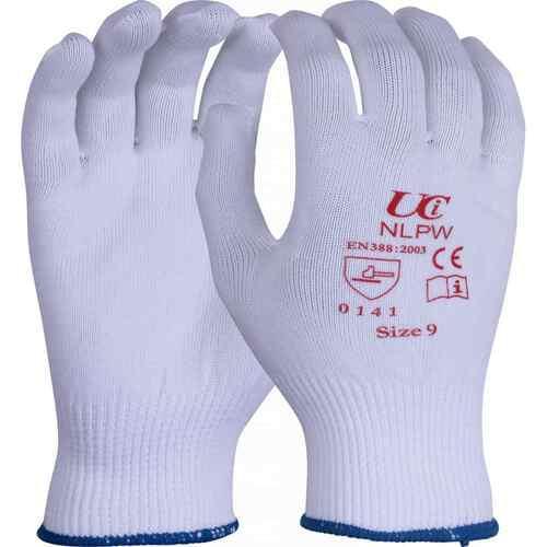 White, full fingered, low lint polyester gloves, Size 7/S