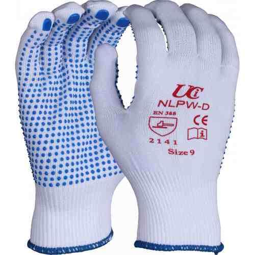 White, full fingered, low lint polyester gloves with PVC dotting to palm, Size 8/M