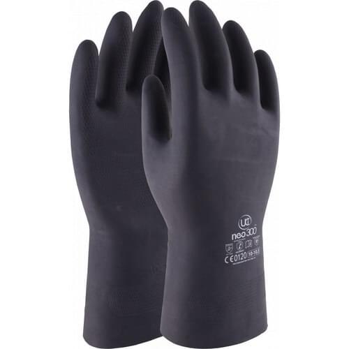 Heavy duty black chemical resistant 13 inch gauntlet, Size 9/L