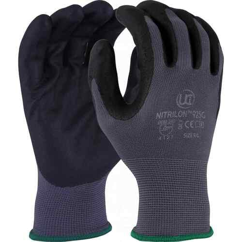 Grey polyester glove with black foam nitrile coated palm, Size 10