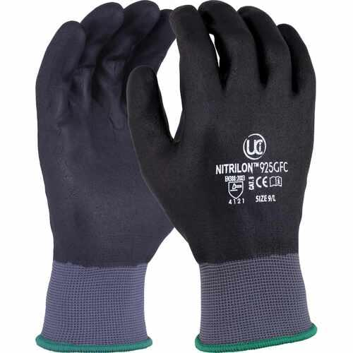 Grey polyester glove with full black foam nitrile coating, Size 7