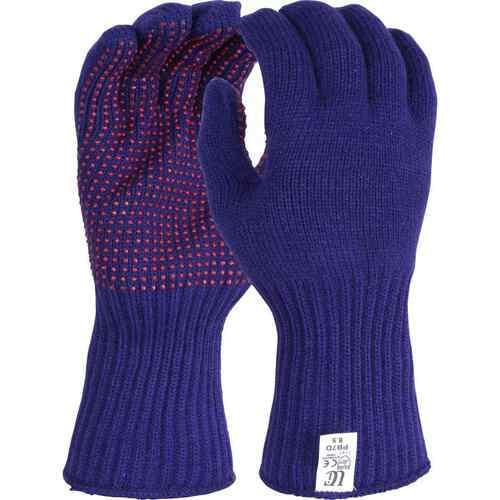 Thermal acrylic glove with red PVC dots to one side, Size 9