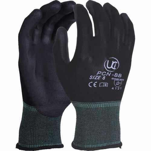 Black PU palm coating on black Nylon shell, Size 11/2XL