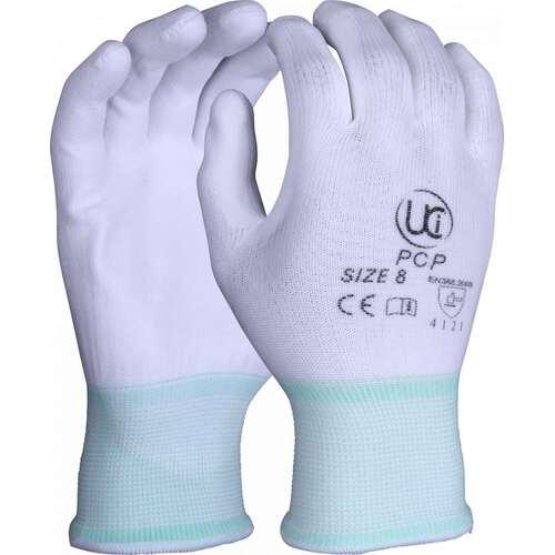 White PU palm coating on a white polyester shell, Size 7/S