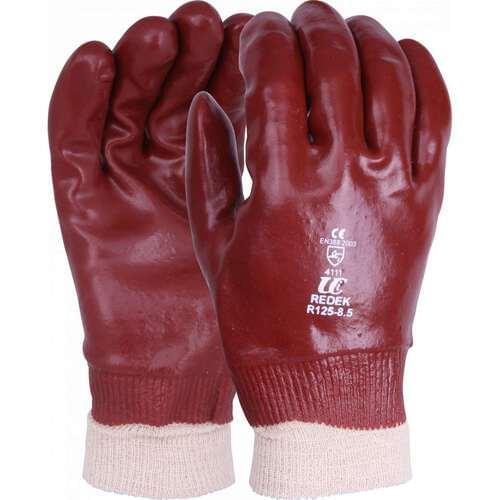Standard red PVC, knit wrist gloves, Size 10