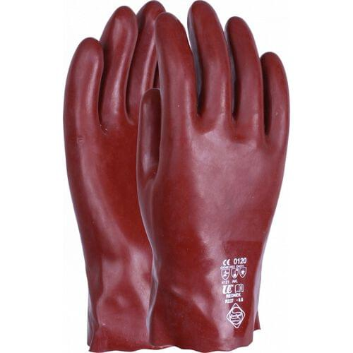 Chemical resistant 11 inch red PVC gauntlet, Size 10