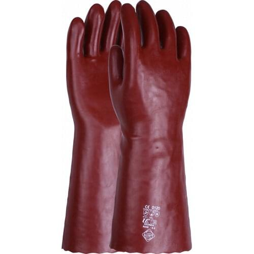 Chemical resistant 16 inch red PVC gauntlet, Size 10