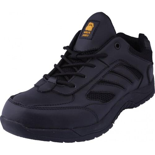 Black Trainer with toe cap, midsole, and non-slip sole, Size 05