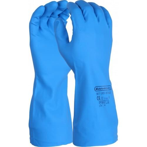 Premium chemical resistant 13 inch flock lined blue nitrile gauntlet, Size 7/S