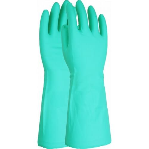 Premium green chemical resistant 16 inch flock lined nitrile gauntlet, Size 8