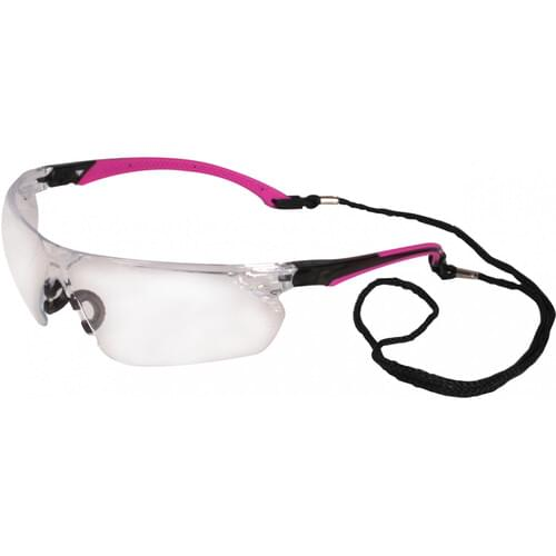 Safety glasses with pink side arms and clear lens
