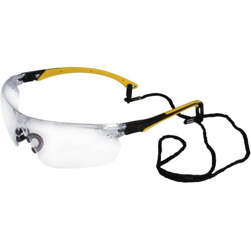 Safety glasses with yellow side arms and clear lens
