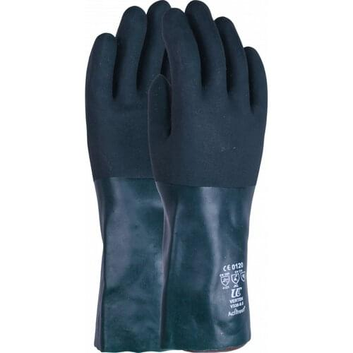 Heavyweight double dipped chemical resistant 14 inch green PVC gauntlet, Size 11