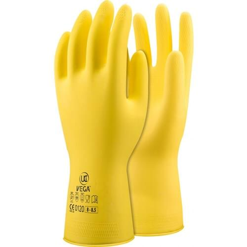 Yellow 30cm Latex gauntlet with cotton flock lining, Size 07-75