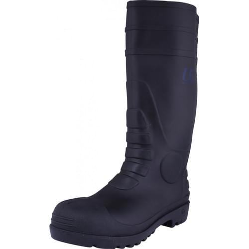 Black PVC safety wellington with steel toe cap and midsole, Size 5