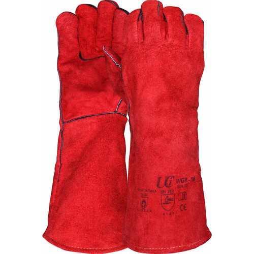 "Long length premium Red welders gauntlet, 16"" Cuff, Size XL"