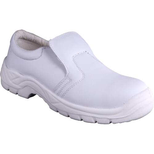 White safety slip on shoe, Size 07