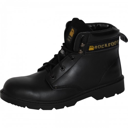Deluxe work boot with midsole and padded ankle closure.Black, Size 13