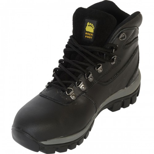 Classic black hiker boot with midsole and heat resistant sole, Black, Size 7