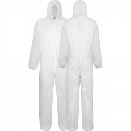 Lightweight disposable polypropylene coverall, White, Size M