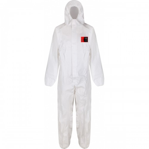 Laminated Microporous Disposable Coverall, White, Size L