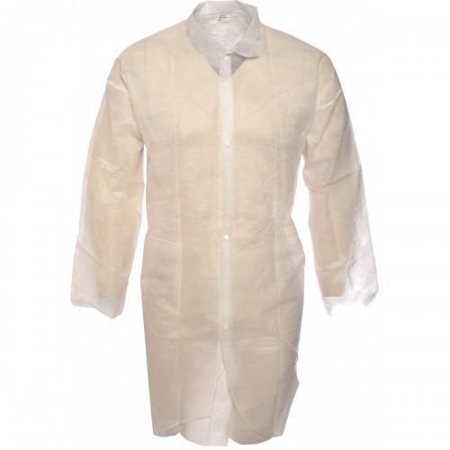 Lightweight disposable polypropylene white warehouse coats, Size L