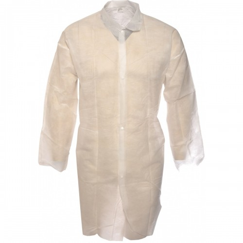 Lightweight disposable polypropylene white warehouse coats, Size XL