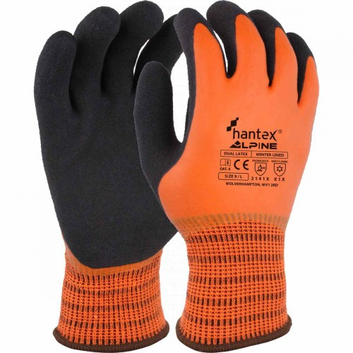 Dual latex coated thermal glove, Black on orange, Size 8