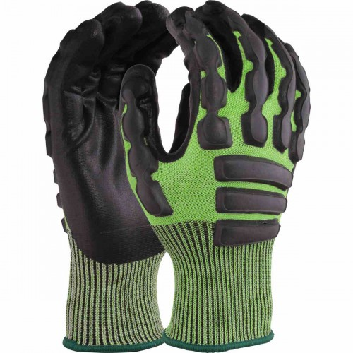 Cut resistant, Anti-Impact glove. Black foam nitrile coating on cut C liner, Size 8