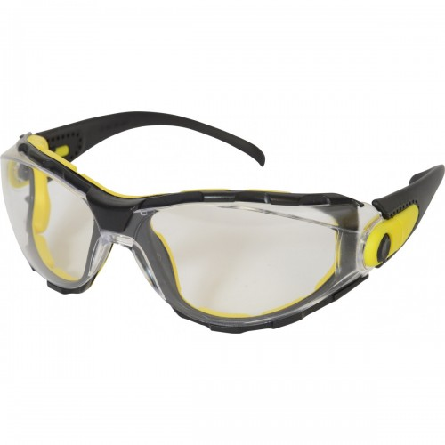 Safety glasses with clear anti-fog lens, adjustable arms, foam, & neck cord
