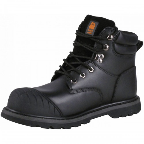 Black Smooth grain leather safety boot,  Size 06