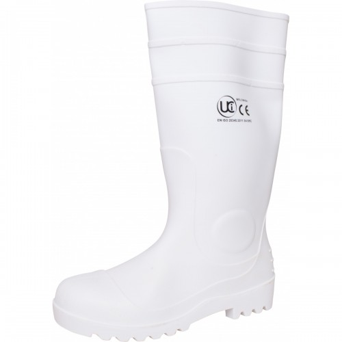 White PVC safety wellington with steel toe cap, Size 7