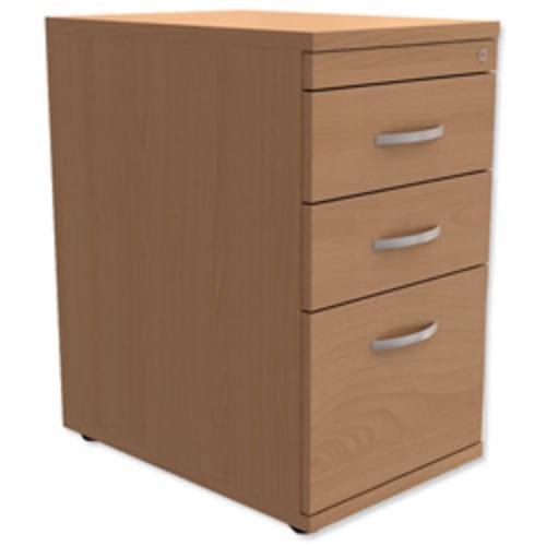*Desk High 3-Drawer Mobile Filing Pedestal 600mm Deep Beech*