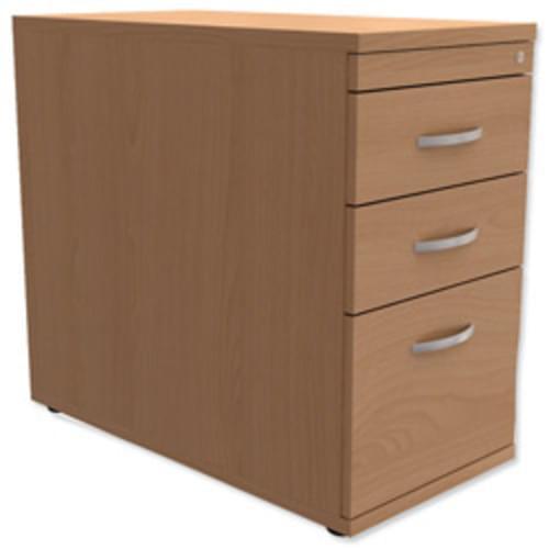 *Desk High Mobile 3-Drawer Filing Pedestal 800mm Deep Beech*
