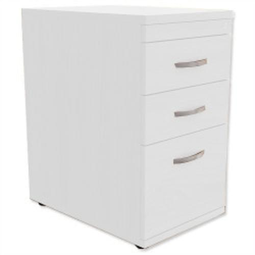 *Desk High 3-Drawer Mobile Filing Pedestal 600mm Deep White*