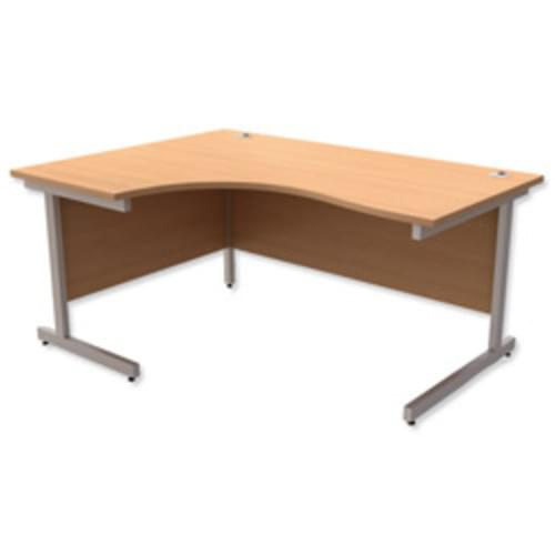*Cantilever Radial Desk / Workstation Left Hand Silver Legs W1600xD1200xH725mm Beech*