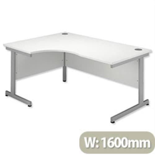 *Cantilever Radial Desk / Workstation Left Hand Silver Legs W1600xD1200xH725mm White*