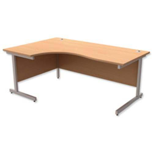 *Cantilever Radial Desk / Workstation Left Hand Silver Legs W1800xD1200xH725mm Beech*