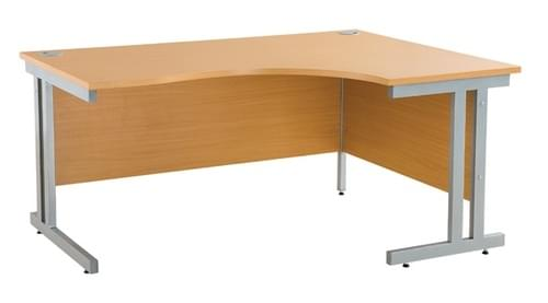 *Cantilever Radial Desk / Workstation Right Hand Silver Legs W1600xD1200xH725mm Beech*