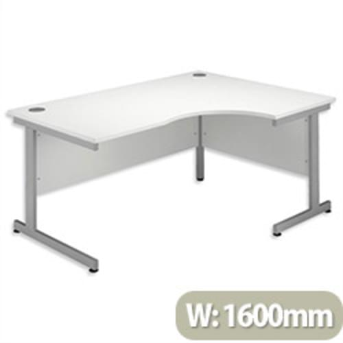 *Cantilever Radial Desk / Workstation Right Hand Silver Legs W1600xD1200xH725mm White*