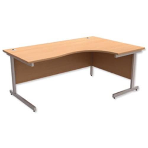 *Cantilever Radial Desk / Workstation Right Hand Silver Legs W1800xD1200xH725mm Beech*