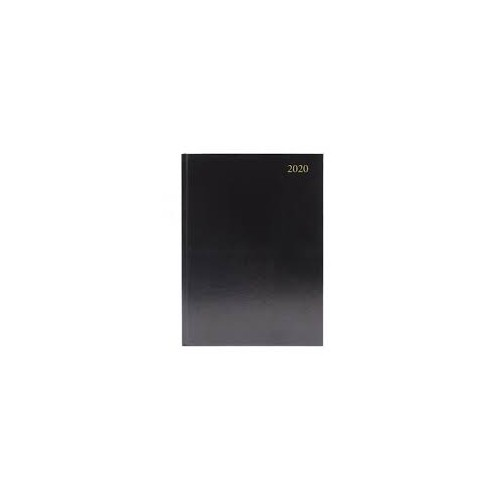A5 Office 2020 Appointment Diary Day to Page Casebound and Sewn Vinyl Coated Board A5 210x148mm Black