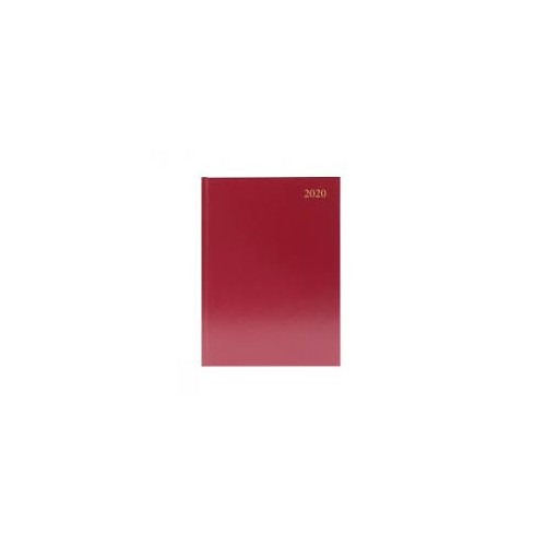 A4 Office 2020 Appointment Diary Day to Page Casebound and Sewn Vinyl Coated Board A4 297x210mm Red